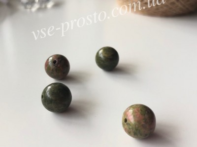 УНАКИТ, БУСИНЫ круглые, зеленые, 10mm (1шт)