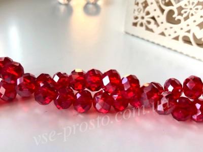 Хрусталик красный гальваника, 250, низка 65шт. (6х8мм)
