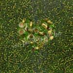 Бисер (10гр) 59430/257, зеленый (прозрачный с медной серединкой)