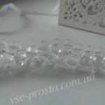Хрусталик белый прозрачный, 025, низка 70шт. (6х8мм)