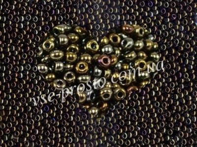 Бисер (5гр) 59115/541, зеленый медный (ирис радужный)