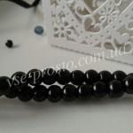 Жемчуг черный, низка (145 шт.), 6мм