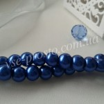 Жемчуг синий №020, низка (145 шт.), 6мм
