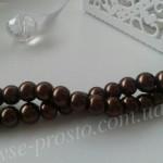 Жемчуг коричневый темный №060, низка (145 шт.), 6мм