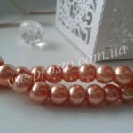 Жемчуг персиковый с розовинкой №044, низка (145 шт.), 6мм
