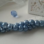 Жемчуг голубой, низка (145 шт.), 6мм