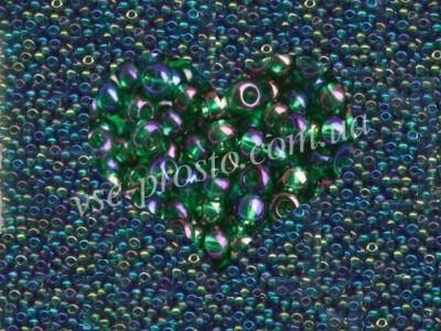 Бисер (5гр) 51060/757, зеленый (прозрачный радужный)