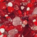БУСИНЫ стеклянные, сердечки 92-mix111 Valentine-1, микс, Чехия (25 гр.)