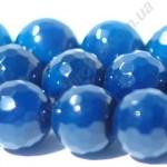 АГАТ, БУСИНЫ ИЗ НАТУРАЛЬНОГО КАМНЯ, круглые, граненые, голубые, 10mm
