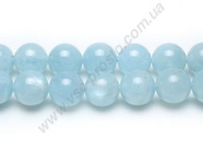 АКВАМАРИН, БУСИНЫ ИЗ НАТУРАЛЬНОГО КАМНЯ, круглые, светло-голубые, 10mm