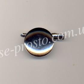 Брошь-заколка с круглой основой, серебристая, 30мм