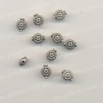 БУСИНА МЕТАЛЛИЧЕСКАЯ цветочек, круглая, серебристая, 12х6 mm