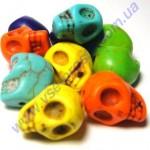 ГОВЛИТ, БУСИНЫ в форме черепа, разноцветные, 10X12mm