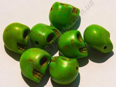 БИРЮЗА СИНТЕТИЧЕСКАЯ, БУСИНЫ в форме черепа, зеленые, 10X12mm