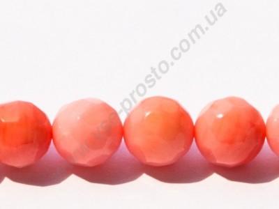 КОРАЛЛ, БУСИНЫ круглые, граненые, розовые, 9mm