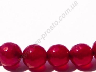 НЕФРИТ, БУСИНЫ ИЗ НАТУРАЛЬНОГО КАМНЯ, круглые, граненые, красные, 10mm