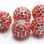 БУСИНЫ С КРИСТАЛЛАМИ, НА МЕТАЛЛИЧЕСКОЙ ОСНОВЕ, круглые, серебристо-красные, 10mm