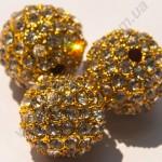 БУСИНЫ С КРИСТАЛЛАМИ, НА МЕТАЛЛИЧЕСКОЙ ОСНОВЕ, круглые, золотистые, 12mm