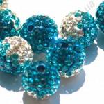 БУСИНЫ С КРИСТАЛЛАМИ, СМЕШАННЫЙ ЦВЕТ, круглые, голубые, 10mm
