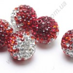 БУСИНЫ С КРИСТАЛЛАМИ, СМЕШАННЫЙ ЦВЕТ, круглые, красные, 10mm