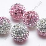 БУСИНЫ С КРИСТАЛЛАМИ, СМЕШАННЫЙ ЦВЕТ, круглые, розовые, 10mm