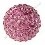 БУСИНЫ С КРИСТАЛЛАМИ, круглые, розовые, 10mm