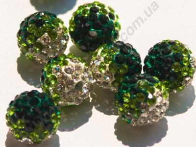 БУСИНЫ С КРИСТАЛЛАМИ, СМЕШАННЫЙ ЦВЕТ, круглые, зеленые, 10mm