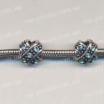 БУСИНЫ металлические с голубыми кристаллами, плюс (Pandora стиль)