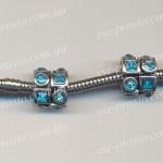 БУСИНЫ металлические с голубыми кристаллами, геометрия (Pandora стиль)