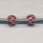 БУСИНА металлическая с красными кристаллами, 11х8 мм (Pandora стиль)
