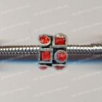 БУСИНЫ металлические с красными кристаллами, геометрия (Pandora стиль)