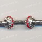 БУСИНЫ металлические с красными кристаллами, 10х7,5 мм (Pandora стиль)
