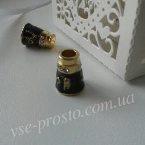 Колпачок со стразами бижутерный, черный с золотом, 9,5х13мм, 1 шт.