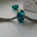 БУСИНЫ хрустальные, зелено-синие, 9х14 мм (Pandora стиль)