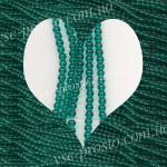 БУСИНЫ, темно-зеленые №008, круглые, 4mm, низка
