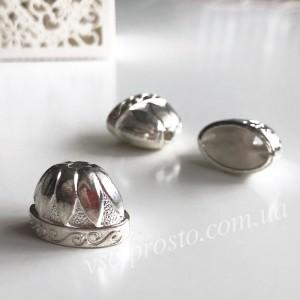 Колпачок бижутерный, Бутон светлое серебро 7850, 15х20мм, 1 шт.