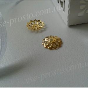 Шапочка (розетка) для бусин, Ромашка, 10мм, золотистые набор (20шт.)