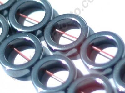 ГЕМАТИТ, БУСИНЫ ИЗ НАТУРАЛЬНОГО КАМНЯ, кольцо, черные, 12mm