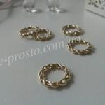 БУСИНА МЕТАЛЛИЧЕСКАЯ, кольцо витое, золотистая, 15mm
