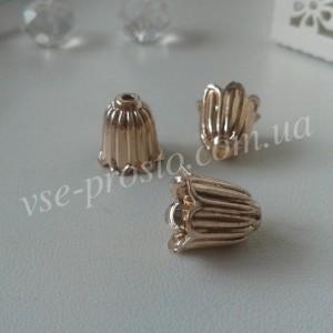 Колпачок бижутерный, Колокольчик, золотистый, 11х11мм, 1 шт.