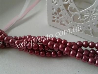 Жемчуг бордовый №077, низка (200 шт.), 4мм