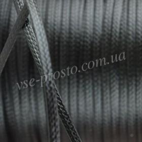 ШНУР ХЛОПКОВЫЙ ВОЩЕНЫЙ плоский, с восковой оплеткой, черный, 2mm